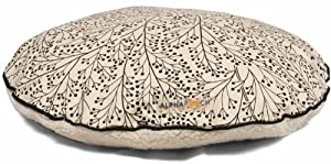 AlphaPooch Drifter Round Dog Bed, Black Berry Branch Fabric with Fleece, Small