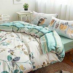 FADFAY Leaf Bedding Sets Kids Cotton Duvet Cover Set 4PCS Full Size