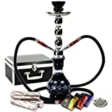 "NeverXhale Starter Series: 18"" 2 Hose Hookah Shisha Combo Kit Set w/ 3 Kings Charcoal, Hydro Herbal Molasses, and Screen (Diamond Etched Blue)"