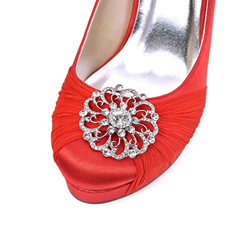 ElegantPark HC1609P Women Pumps Closed Toe Platform High Heel Buckle Chiffon Satin Prom Evening Party Dress Shoes Red US 11
