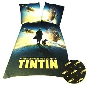 Tintin Globe DBO Parure Linge de Lit 200 x 140 cm