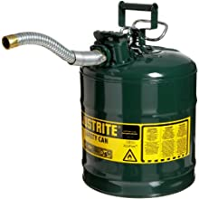 "Justrite AccuFlow 7250430 Type II Galvanized Steel Safety Can with 1"" Flexible Spout, 5 Gallons Capacity, Green"