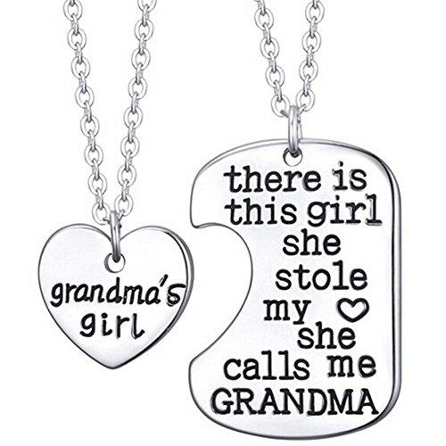 Grandmas-Girl-Necklaces-2-x-20-Metal-Chain-2-Pendants-Best-Family-Grandmothers-Jewelry-Gift