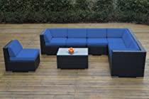 Hot Sale Ohana Collection pn0804blue Outdoor Patio Wicker Furniture 8-Piece Couch Set with Free Patio Cover, Blue