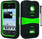 For Huawei Inspira H867G Glory H868C Arched Hybrid Kickstand Cover Case with ApexGears Stylus Pen (Black Green)