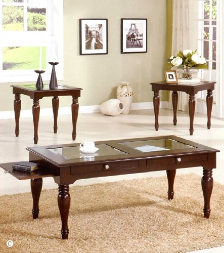 Acme 18448A 3-Piece Evan Coffee/End Table Set, Dark Cherry Finish 3 piece metric socket holder set