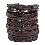 Jusnova 6 Pcs Leather Bracelet for Men Women Wooden Beaded Bracelets Cuff Adjustable