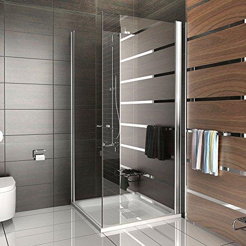 Duschkabine Eckeinstieg mit Drehtür | rahmenlose Dusche | Klappbar