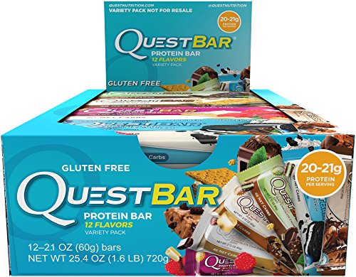 Quest Nutrition Protein Bar, Popular Flavors Variety Pack, 12 Flavors, 20-21g Protein, 2.12oz Bar, 12 Count (Quest Nutrition Chocolate Brownie compare prices)