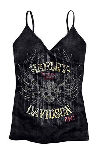 Harley-Davidson Women's Tank Top, Restless Spirit Skull, Black 96033-15VW (S)