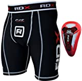 Authentic RDX Compression Flex Shorts & Gel Groin Cup Guard MMA-Black