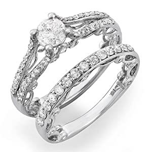 1.00 Carat (Ctw) 14k White Gold Round Diamond Ladies Bridal Ring Semi Mount Engagement Set with Matching Wedding Band (No Center Stone) (Size 7)
