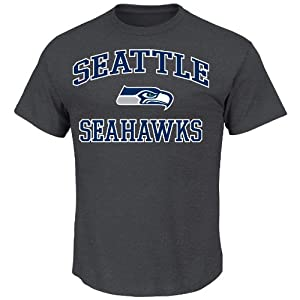 NFL Hear & Soul Seattle Seahawks Basic Tee, Charcoal Hearther, Charcoal heather, X-Large