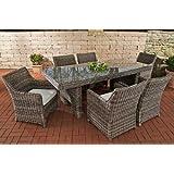 Luxus Sitzgruppe, Sitzgarnitur, Gartengarnitur sandnes, Poly-Rattan, grau-meliert