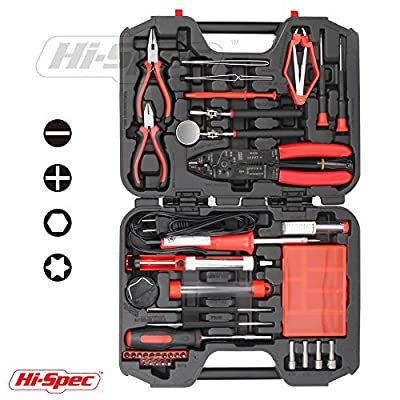 Hi-Spec 60 Piece Computer Electronics Repair, Maintenance and Upgrade Hand Tool Kit, including a 30 Watt Soldering Iron and a Complete Set of Precision Hand Tools in Storage Case