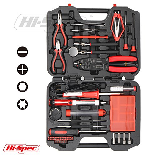 Hi-Spec 60 Piece Computer Electronics Repair, Maintenance and Upgrade Hand Tool Kit, including a 30 Watt Soldering Iron and a Complete Set of Precision Hand Tools in Storage Case (Electronic Solderer compare prices)