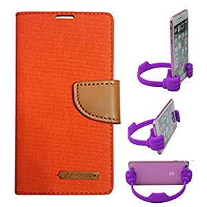 Aart Fancy Wallet Dairy Jeans Flip Case Cover for Asuszen-5 (Orange) + Flexible Portable Mount Cradle Thumb OK Designed Stand Holder By Aart Store.