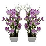 Thefancymart Artificial Tulip Flower Plant With PVC Pot_set Of 2 Style Code-73