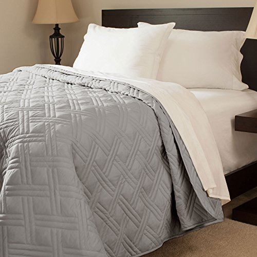 Fantastic Deal! Bedford Home Solid Color Bed Quilt, King, Silver