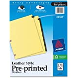 Avery Leather Preprinted Dividers with 1-31 Tabs, Black, 31-Tab Set (25187)