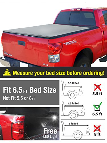 Premium TriFold Tonneau Truck Bed Cover For 07-13 Toyota Tundra (with/without utility track) 6.5 feet (78 inch) Trifold Truck Cargo Bed Tonno Cover (NOT For Stepside) (Toyota Tundra Bed Cover compare prices)