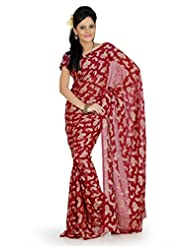 Designersareez Women Georgette Jacquard Printed Maroon Saree With Unstitched Blouse(731)