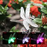 Set of 2 Solar Powered LED Colour Changing Garden Novelty Stake Lights (2 x Dragonfly)