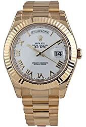 ROLEX DAY-DATE II 2 PRESIDENT YELLOW GOLD WATCH WHITE ROMAN DIAL FLUTED 218238 BOX/PAPERS UNWORN 2014