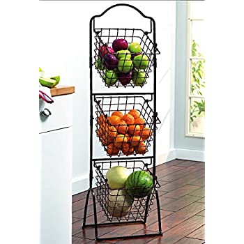 Gourmet Basics by Mikasa 3-Tier Metal Market Basket, Antique Black
