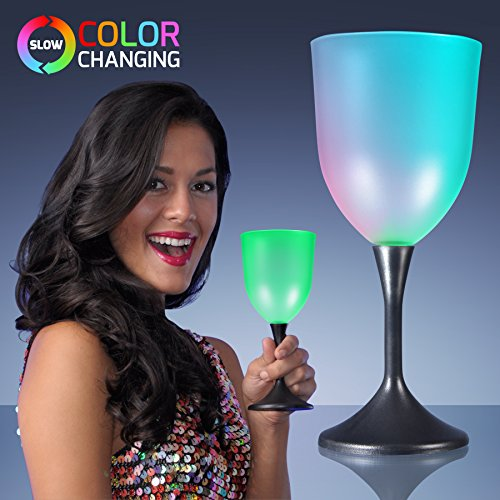 Light Up Led Frosted Wine Glass Black Base