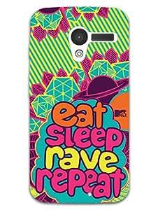 Moto X Back Cover - MTV Gone Case - Eat Sleep Rave Repeat - Yellow - Designer Printed Hard Shell Case