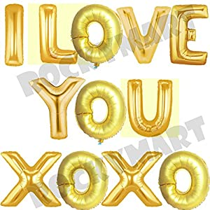Amazoncom foil 14quot letter balloons saying phrase word for I love you letter balloons
