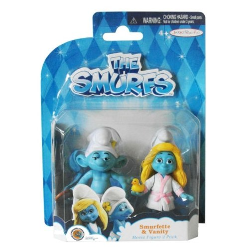 The Smurfs, Movie Figure 2 Pack, Smurfette & Vanity Smurf, 2.5 Inches