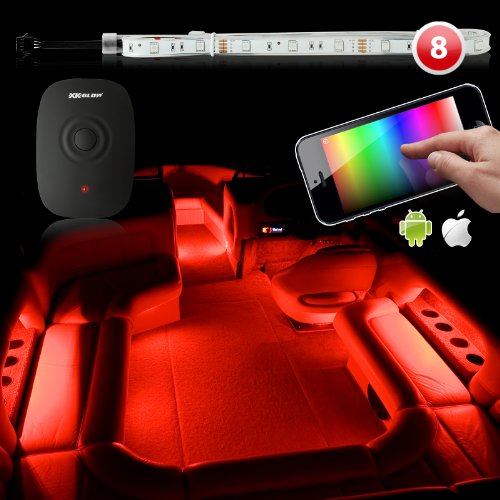Premium 8Pc Long Flexible Strip 240 Led Marine Boat Yacht Interior Lighting Boat Ios Iphone Android App Wifi Control Led Accent Neon Lighting Kit 3 Million Color Music Sync Function 200 Presets Compatible W/ Iphone Ipad Ipod Android Phone Xk Carbon Series