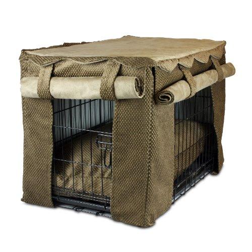 Snoozer Cabana Pet Crate Cover With Pillow Dog Bed, Medium, Shona Brown Sugar/Peat front-900311