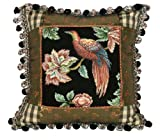 123 Creations 100-Percent Wool Royal Garden-Bird Petit Point Pillow with Fabric Trimmed, 16 W x 16 H