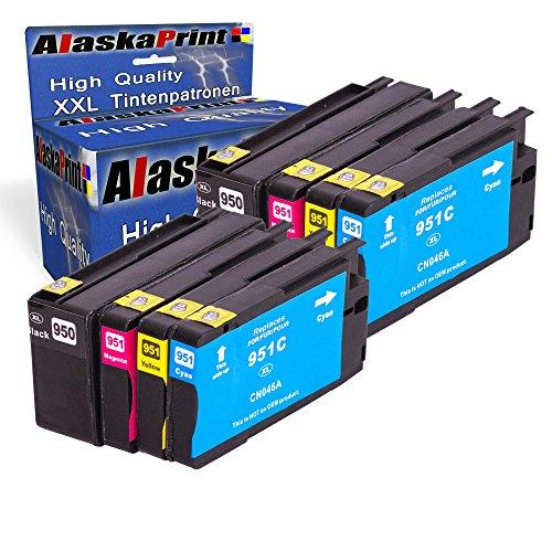 Premium 8er Set Kompatible Tintenpatronen Als Ersatz für Hp 950 XL + HP 951 XL mit Chip und Füllstandsanzeige Zu Officejet Pro 251DW 276DW 8100 8600 8620 8610 8615 8630 8640 8640 E-A-I-O 8100 Eprinter 8600 Premium 8600 E-A-I-O 8610 E-A-I-O 8620 E-A-I-O 8615 E-A-I-O 8630 E-A-I-O 8600 plus 8x950-951-hp