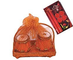 Skylofts Set of 2 Chocolate tablas with a beautiful candle diya set Diwali combo