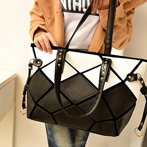 STONG Tartan pattern women Handbag Sacs bandoulière PU en cuir Pochette Sacs à main (Blanc)