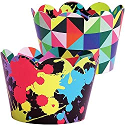 80s Geometric Cupcake Wrappers, Art Theme Decorations, Confetti Couture Party Supplies, 36 Wraps