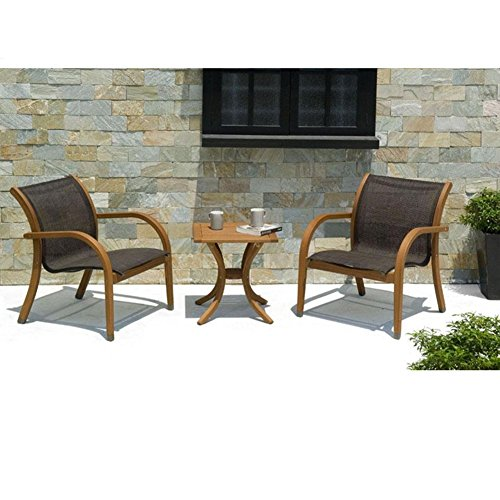 Abba patio eucalyptus 3 piece patio square table and for Eucalyptus patio furniture