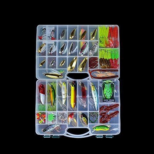 Andoer 168pcs Juego de Cebos artificiales de la pesca Fishing Lure Cebo duro y blando Señuelo artificial Minnow Spoon Caja de dos capas de los equipos de pesca