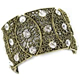 Perforated Brass Filigree Eyelets - Faux White Diamonds - Costume Glam - Stretch Bracelet