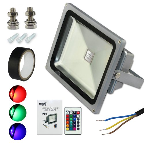 Esco-Lite Security 30W Rgb Led Floodlight With Memory Function Kits(With 2 Screws+ Electrical Tape +3 Ac Wire Caps)For Diy Waterproof Ip66