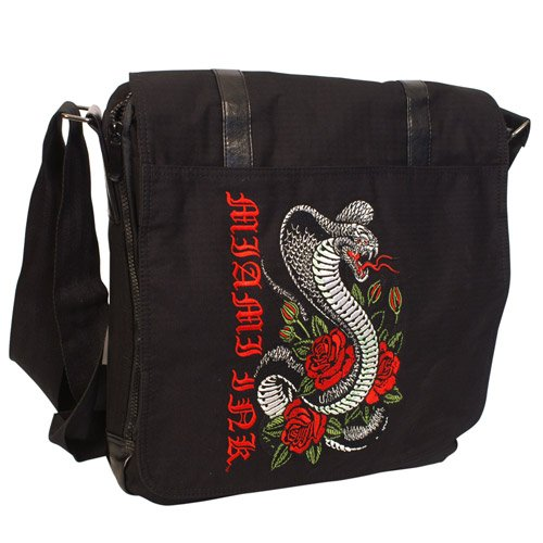 Miami Ink - Black Snake Messenger Bag - Black - 39 x 39 x 12