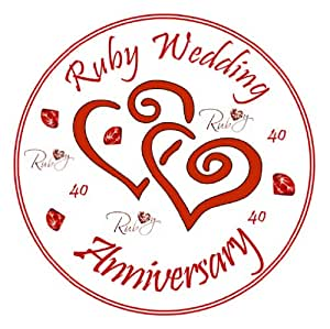 Ruby Wedding Anniversary Cake Topper - Edible Icing 7.5