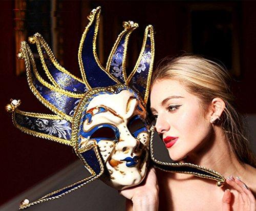 Hand Painted Full Face Jester Jolly Joker Blue and White Venetian Masquerade Wall Mask Carnival Costume Mask w/ Bells Mardi Gras