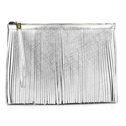 POCHETTE GUM BY GIANNI CHIARINI CON POLSIERA 3699 FR LM FRANGE SILVER - MADE IN ITALY