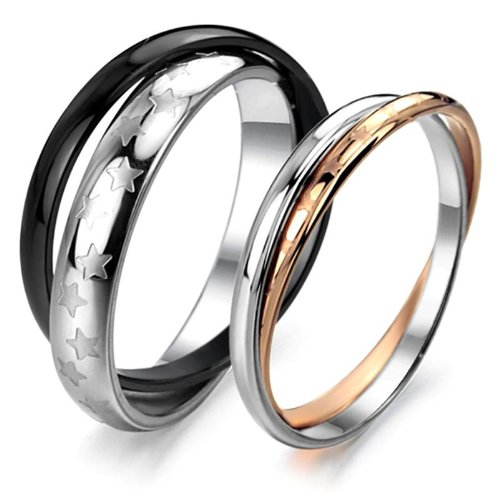 Opk Jewellery Love Couple Rings Stainless Steel Wedding Bands Anniversary Star,Men