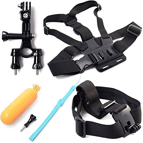 BiG DIGITAL Mounting kit for GoPro Includes Chest Mount Harness + Handlebar Seatpost Mount + Head Strap Camera Mount + Bobber Floating Hand Grip, Compatible With GoPro Hero4, HERO3+, Hero3, HERO2 Blac